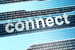 Connect. The word connect in front of a binary background. 3D rendered illustration Stock Photo