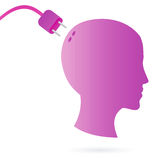 Connect your brain. Illustration of human head as silhouette with AC plug in as concept artwork for connecting your brain Stock Photography
