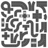 Connectable autostrady drogi elementy Rozdroży, footpath i żużlu złącza ocena, Asfaltowe uliczne drogi z ocechowaniem royalty ilustracja