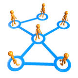 Connected. 3D figures connected by blue lines vector illustration