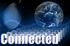 Connected 3D Globe Mouse. Network Illustration royalty free illustration