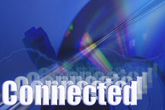 Connected 3D Network Illustration. Connected 3D Plug & CD-ROM Mouse Network Illustration Royalty Free Stock Photography