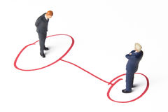 Connected. Business figures and marker Stock Photography