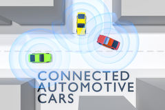 Connected autonomous cars Stock Images