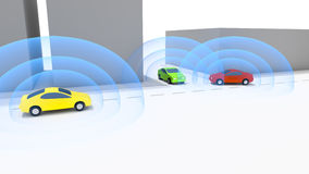 Connected autonomous cars Royalty Free Stock Photography