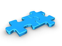 2 connected blue puzzle pieces. 3d rendered illustration Royalty Free Stock Image