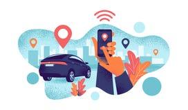 Connected Car City Sharing Service Remote Controlled Via Smartphone App. Autonomous wireless remote connected car sharing service controlled via smartphone app vector illustration