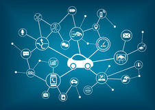 Connected car  illustration. Concept of connecting to vehicles Stock Photography