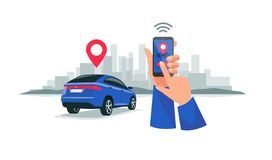 Connected Car Sharing Service Remote Controlled Via Smartphone App. Vector illustration of autonomous wireless remote connected car sharing service controlled vector illustration