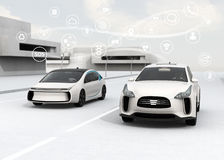Connected cars and autonomous cars concept. 3D rendering image stock illustration
