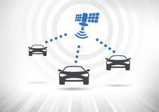 Connected Cars. Concept with intelligent cars connected via satellite. Cars in front view. Fully scalable vector illustration Stock Photography