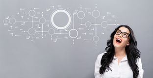 Connected circles chart with young businesswoman. In a thoughtful face stock illustration