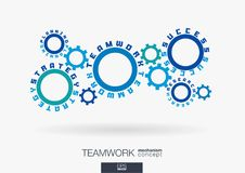 Connected cogwheels concept. Teamwork success, strategy plan, research words. Integrated gears, text. Business team work. Communication idea. Cog wheel Stock Photos
