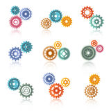 Connected Color Gears Icons Set Royalty Free Stock Photos