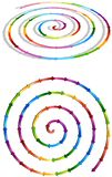 Connected colorful spiral arrows Stock Image