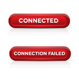Connected - Connection failed red buttons Royalty Free Stock Photography