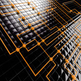 Connected cubes. Abstract background from black metal big and orange small cubes vector illustration