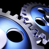 Connected. 3D illustration of blue gears Royalty Free Stock Photo