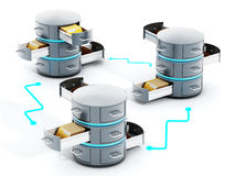 Connected data servers with open file racks. 3D illustration Stock Image