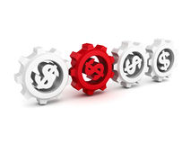 Connected dollar symbol work cogwheel gears Royalty Free Stock Photography