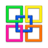 Connected frames. Five color framework connected among themselves on a white background Stock Image