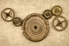 Connected gear wheels on a vintage background Stock Image