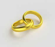Connected gold rings isolated Stock Photo