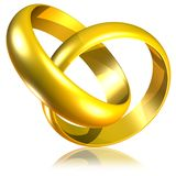 Connected Golden Wedding Rings-3d Stock Photography