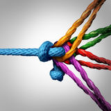 Connected Group Concept. As many different ropes tied and linked together as an unbreakable chain as a community trust and faith metaphor for dependence and Stock Image