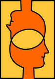Connected heads sharing ideas. Two intersected heads sharing brains. Words or icons can be added to the brain intersection stock illustration
