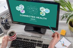 Connected health concept on a computer. Screen royalty free stock photography