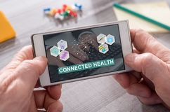 Concept of connected health. Connected health concept on mobile phone Royalty Free Stock Images
