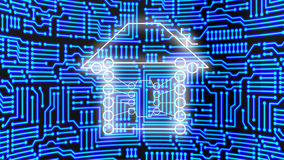 Connected home concept. Home icon made from circuits in front of a huge blue glowing circuit board 3d concept illustration Royalty Free Stock Photography