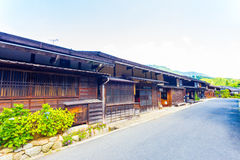 Connected Japanese Wood Houses Tsumago Main Road Royalty Free Stock Photos