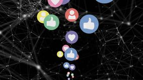 Connected lines with dots and moving social media icons stock illustration