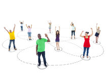 Connected Multi-Ethnic People Arms Raised.  stock photography