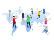 Connected Multi-Ethnic People with Arms Raised Standing on World.  vector illustration