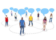 Connected Multi-Ethnic People with Empty Speech Bubbles Above Royalty Free Stock Images