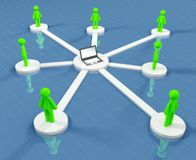 Connected people collaborate in social network Royalty Free Stock Image