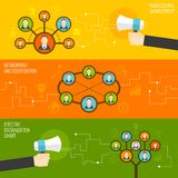 Connected people flat icons set Stock Photo