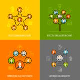 Connected people flat icons set Stock Images