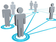 Connected people illustration. Illustration of people symbols connected by blue lines Royalty Free Stock Photography