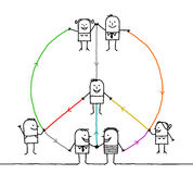 Connected people making a peace and love sign Royalty Free Stock Images