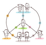 Connected people making a peace and love sign. Vector Royalty Free Stock Image