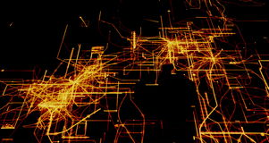 Connected power circuits light up 4k rendered technology background video in gold on black.