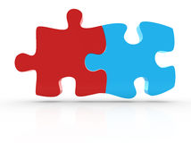 Connected puzzle piece. This is a computer generated and 3d rendered picture Royalty Free Stock Photography