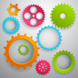Connected realistic dimensional gear cogs silhouettes. With drop shadow vector illustration