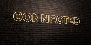 CONNECTED -Realistic Neon Sign on Brick Wall background - 3D rendered royalty free stock image Stock Image
