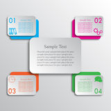 Connected rectangles cross four options infographic Stock Photo
