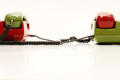 Connected retro telephones Stock Photo